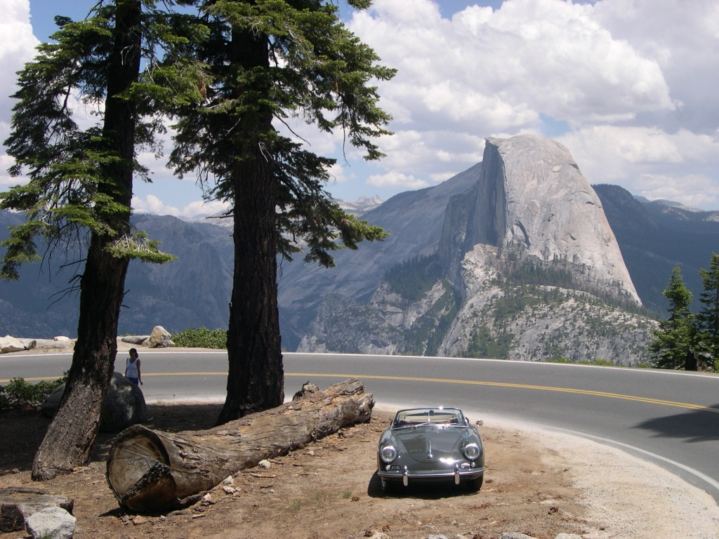 Picnic respite near Glacier Point with view of Half Dome.